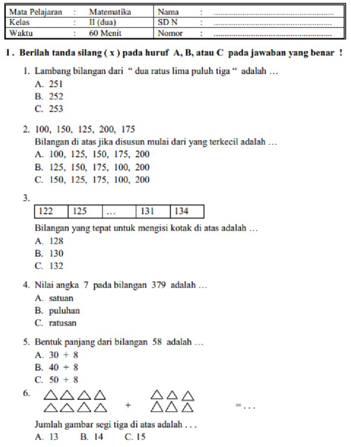 Kumpulan Soal Pelajaran Matematika Kelas 2 Sd Mi Semester 1 Dan 2 Kunci Jawaban Official Website Initu Id