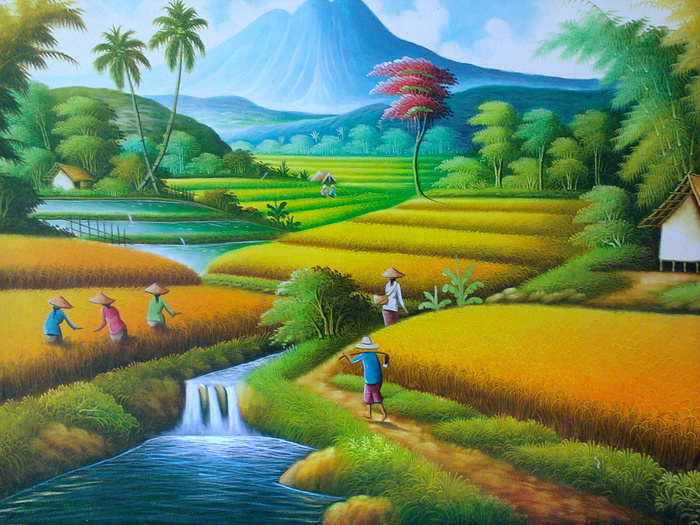 lukisan pemandangan lanskap gunung