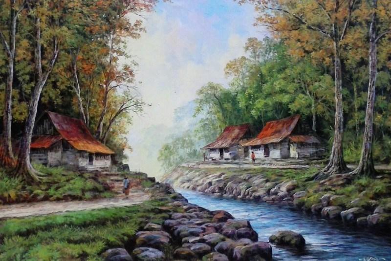lukisan pemandangan lanskap rumah dan pohon