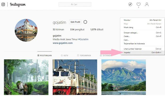 cara upload instagram foto cepat melalui PC