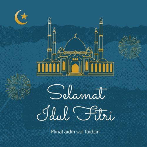 Kartu Lebaran Ellegant Motif Gambar Masjid 2020