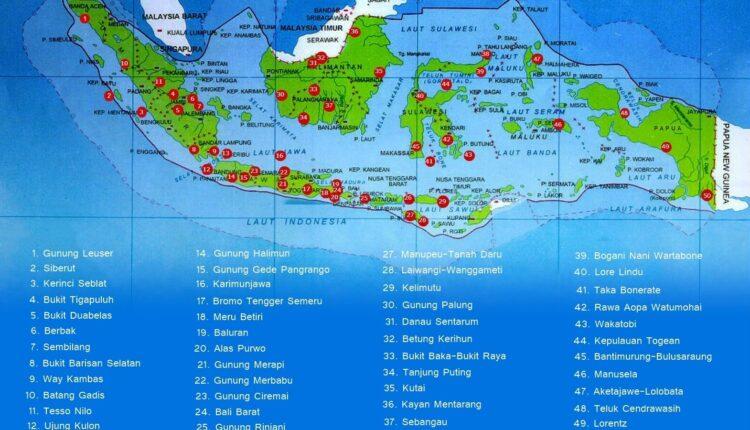 Peta Lokasi Daftar 50 Taman Nasional di Indonesia Lengkap