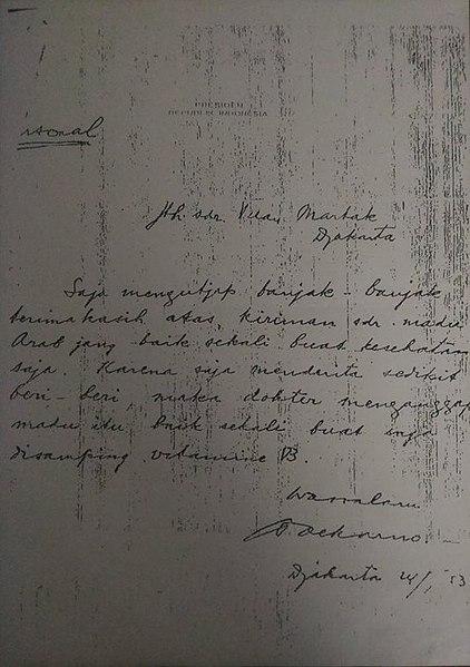 Surat Ucapan Terima Kasih dari Sukarno Kepada Faradj Martak
