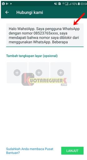 Tampilan saat whatsapp di blokir