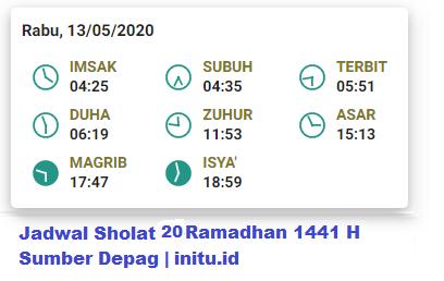 Jadwal Imsakiyah Jakarta 20 Ramadhan 1441 2020