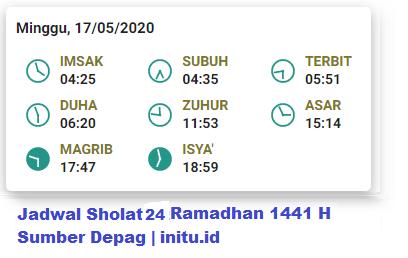 Jadwal Imsakiyah Jakarta 24 Ramadhan 1441 2020