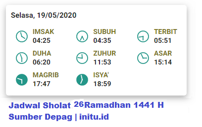 Jadwal Imsakiyah Jakarta 26 Ramadhan 1441 2020