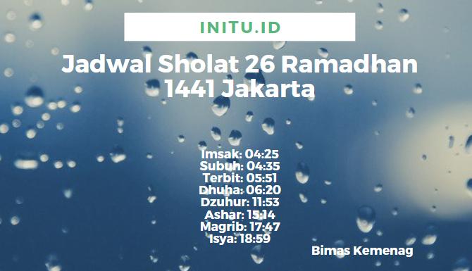 Jadwal Imsakiyah Jakarta 26 Ramadhan 19 Mei 2020