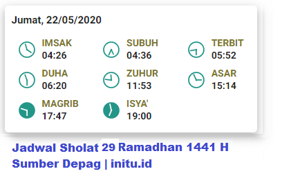 Jadwal Imsakiyah Jakarta 29 Ramadhan 1441 2020