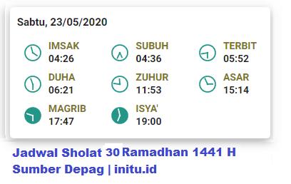 Jadwal Imsakiyah Jakarta 30 Ramadhan 1441 2020