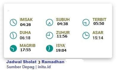 Jadwal Sholat Jakarta 3 Ramadhan 1442