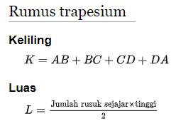 Rumus Keliling dan Luas Trapesium