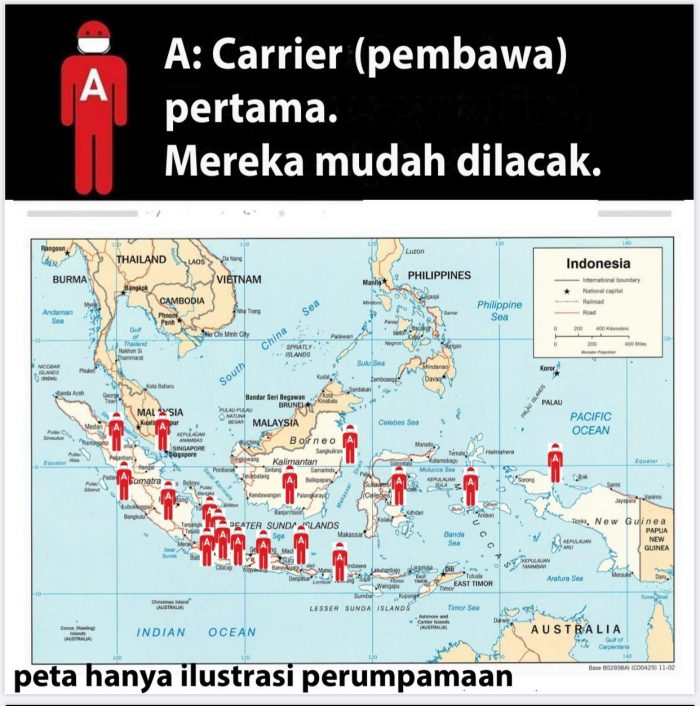 Ilustrasi Pembawa Pertama Corona warna merah