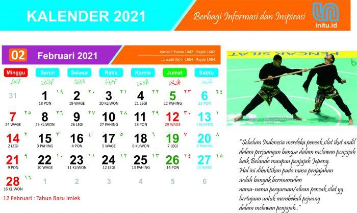 Download Kalender Februari 2021 Tema Olah raga