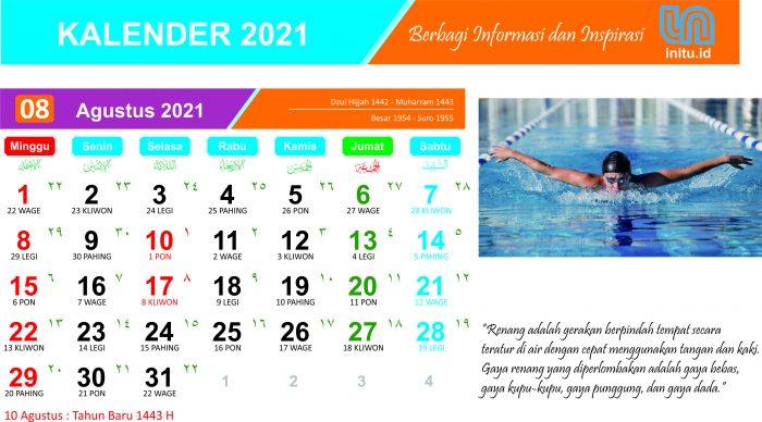 Kalender Bulan Agustus Tahun 2021