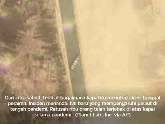 Penambakan satelit kapal di terusan Suez
